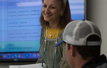 Image of Rifka Cook, associate Professor of Instruction, Spanish and Portuguese teaching class