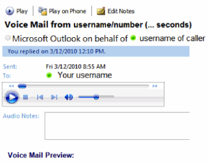 Unified Messaging Inbox Message