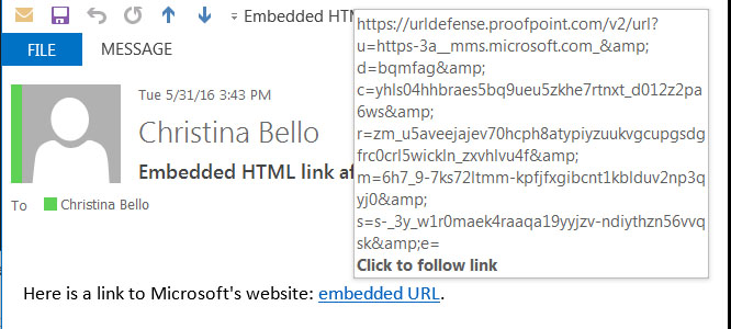 Email with embedded link