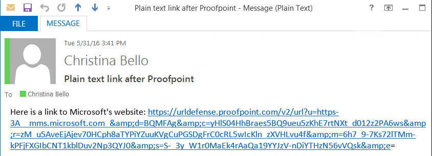 Email with Proofpoint email link