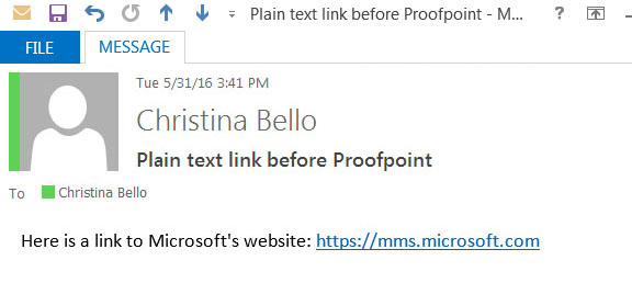 Image of an email with a link to Microsoft's website