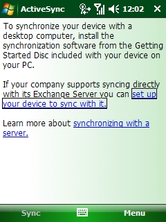 The ActiveSync splash screen. In the middle, the link should be click stating Set up your device to sync with it.