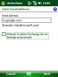 The Enter Email Address screen for ActiveSync. In the Email address field, m.google.com should be entered.