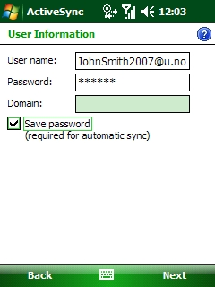 The User Information screen of ActiveSync. Next to User name, enter your Northwestern e-mail address. Next to Password, enter your Northwestern e-mail account password. The Domain field should either be left blank or, if required, state google.