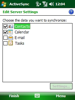 The ActiveSync screen allowing the user to choose the desired data to be synchronized. The box next to Calendar should be checked, and the box next to Contacts should be checked if you would like to synchronize your phone with your Northwestern e-mail account contacts.