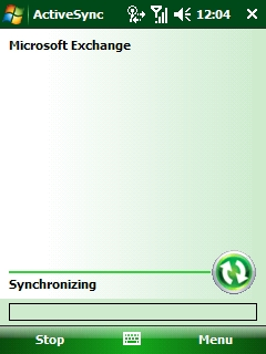 ActiveSync in the process of synchronizing.